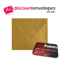 Square Banker Invitation Gummed Gold 155×155mm 100gsm