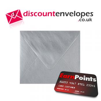 Square Banker Invitation Gummed Silver 155×155mm 100gsm