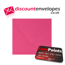 Square Banker Invitation Gummed Fuchsia 155×155mm 100gsm