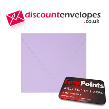 Square Banker Invitation Gummed Lilac 155×155mm 100gsm