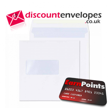 Square Wallet Gummed Window White 165×165mm 100gsm