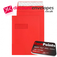 Gusset Pocket Peel and Seal Window Pillar Box Red C4 324×229×25mm 140gsm